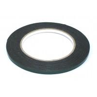 Скотч двусторонний черный вспененный с зеленой защитной лентой толщина 0,5мм ширина 5мм 10м