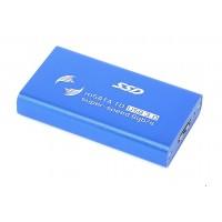 Бокс для SSD диска MSATA с выходом USB 3.0 алюминиевый, синий