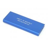 Бокс для SSD диска NGFF (M2) с выходом USB 3.0 алюминиевый, синий
