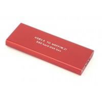 Бокс для SSD диска NGFF (M2) с выходом USB 3.0 алюминиевый, красный